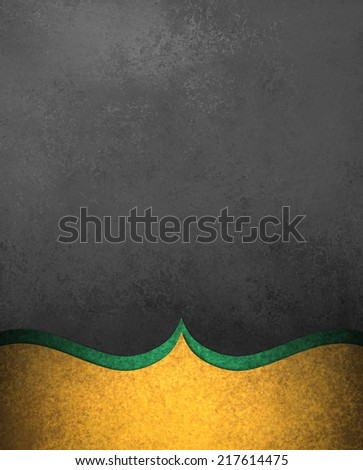 elegant black background paper with shiny gold green border layers with wavy curve and vintage texture design element