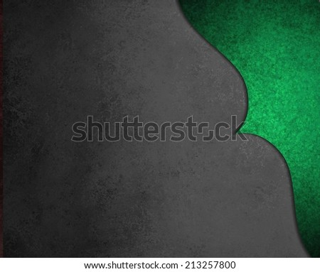 elegant black background paper with shiny green corner border with wavy curve and vintage texture design element