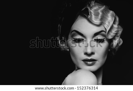 elegant blond retro woman ...