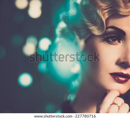 elegant blond retro woman with...
