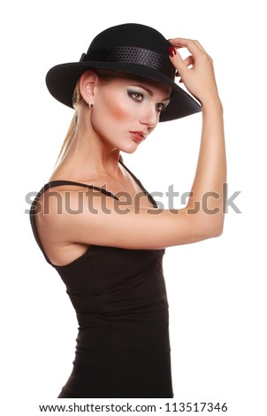http://image.shutterstock.com/display_pic_with_logo/1030921/113517346/stock-photo-elegant-blonde-model-in-classic-black-dress-with-hat-on-the-white-background-113517346.jpg