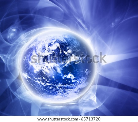elegant blue background with  abstract world