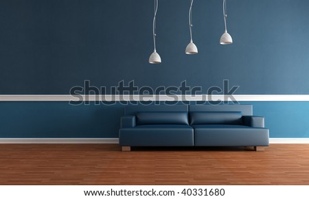 elegant blue interior with parquet floor and modern leather couch - rendering