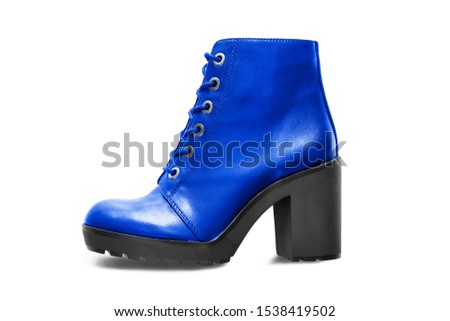 Elegant blue leather high heel laced boot isolated over whte #1538419502