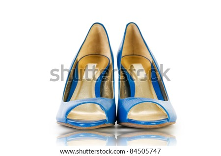 Elegant blue shoes on the white