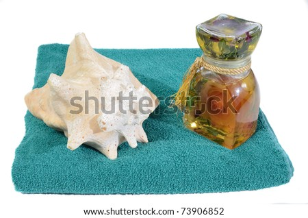 Elegant bottle of Bath Oil and a Sea Shell on a towel.