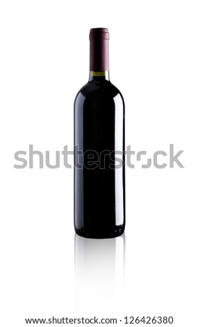 elegant bottle of red wine on white background