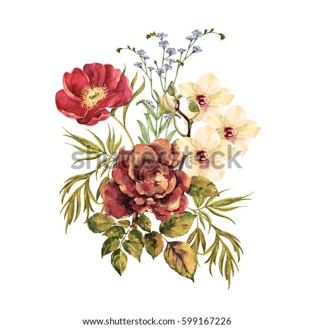 Elegant Bouquet Watercolor.