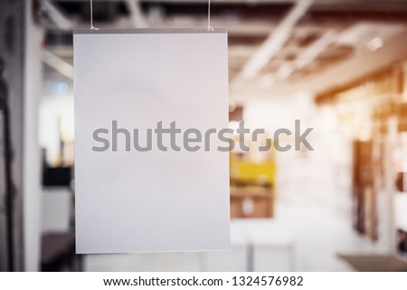 Elegant branding Hangtags White mockup paper frame posters pattern template forms background for letter ready to use display your product, blurred shopping mall,  Space for texting customer