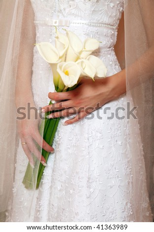 Elegant bridal bouquet of white callas