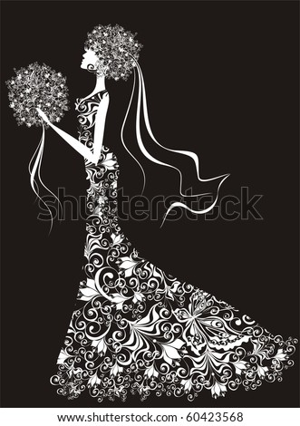 Elegant bride, hair and dress decorated with flowers.  Look a vector the version of the resulted example in my portfolio