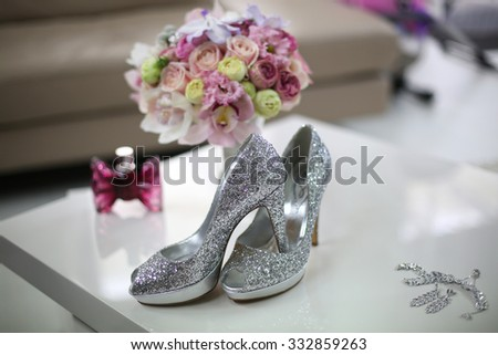 Elegant bride's shoes with glitter #332859263