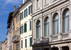 Elegant buildings in old town Portogruaro, Italy