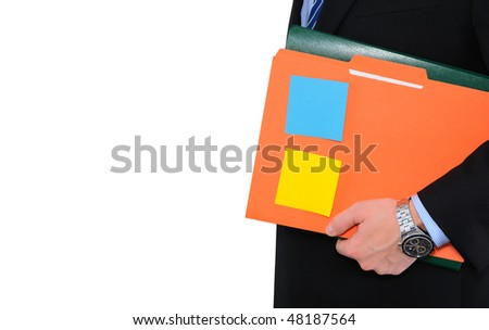 Elegant businessman is holding folders with paperwork isolated on white
