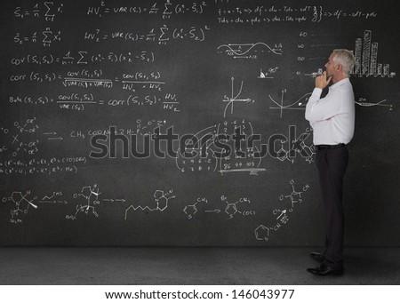 Elegant businessman looking at maths equations written on a blackboard