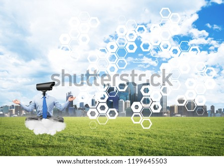 Elegant businessman outdoors floating on cloud and camera instead of head #1199645503