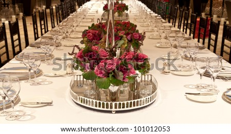 Elegant candlelight  dinner table setting at reception