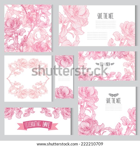 Elegant cards with floral rose bouquets, design elements. Can be used for wedding, baby shower, mothers day, valentines day, birthday cards, invitations. Vintage decorative flowers. #222210709