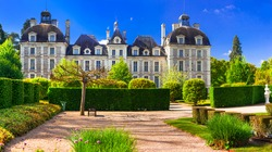 Elegant Cheverny castle, with beautiful gardens . Loire valley.