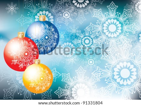 Elegant Christmas background with colorful decoration balls and snowflakes