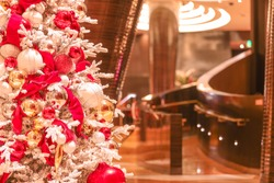 Elegant Christmas holiday decorations at the lobby of a casino hotel in Las Vegas, NV, USA. Captured on 12/7/2019.