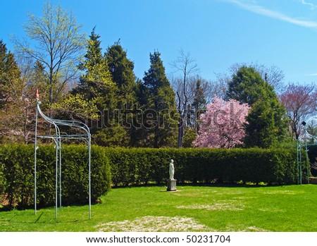 Elegant classical garden in spring
