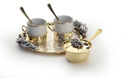 elegant coffee set with sugar bowl cups and tray