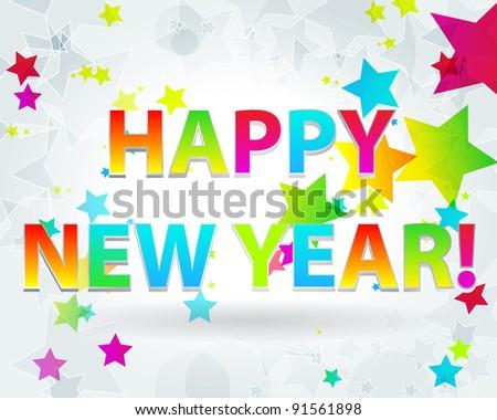 Elegant, colorful New Year's illustration