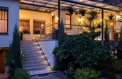 Elegant contemporary house with big lighted terrace