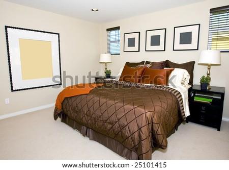 Elegant contemporary master bedroom in earth tones