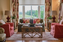 Elegant country house living room with a view