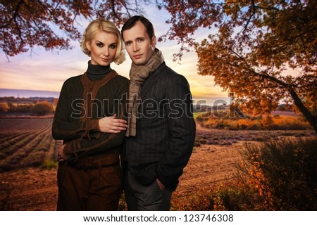 Elegant couple against lavender field