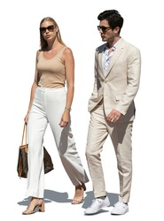 Elegant couple in white summer clothes walking together, isolated on white background