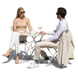 Elegant couple sitting in a street café and drinking white wine, isolated on white background