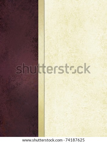 elegant cover or background in rich burgundy purple and white cream colors, with sponged grunge texture and ribbon layout design, and copy space to add your own text or title