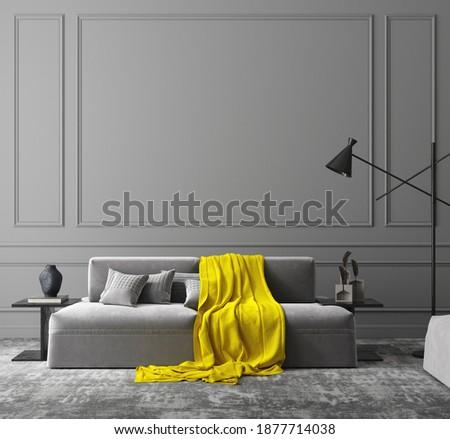 Elegant dark grey interior, colors of the year 2021, 3d render