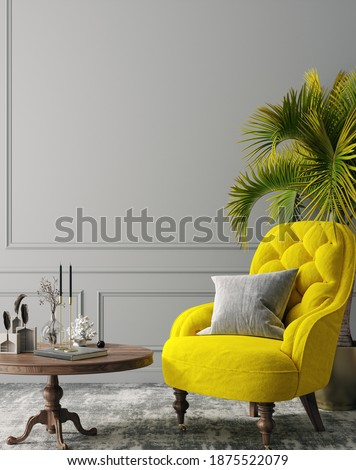 Elegant dark grey interior with bright yellow armchairs, colors of the year 2021, 3d render