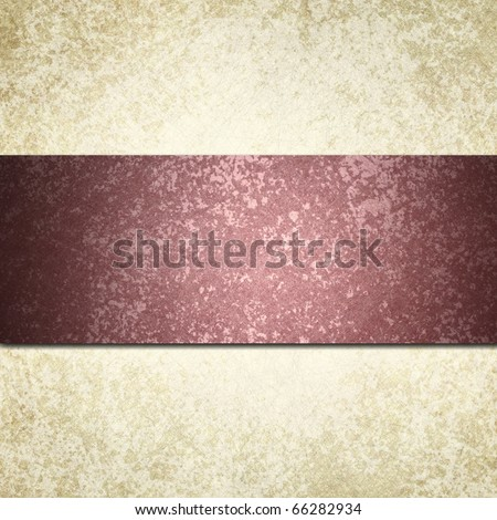 elegant dark pink burgundy ribbon on beige off-white background with textured surface, highlight, and graphic art design layout stripe with copy space to add your own text
