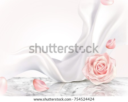 Elegant decorative background, roses petal and pearl white chiffon elements on marble table  - Shutterstock ID 754524424