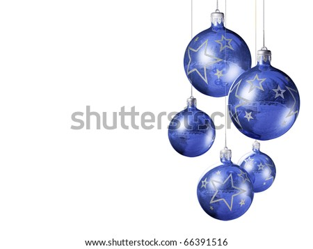 Elegant decorative isolated christmas baubles on white background.