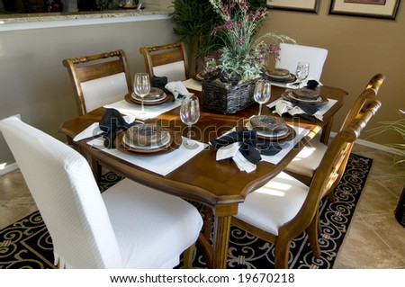 Elegant dining area with beautiful table arrangement