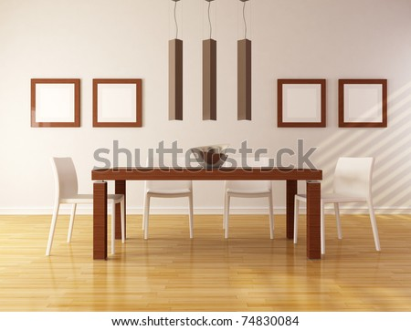 elegant dining room with wooden table and white chair - rendering
