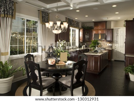 Elegant Dinning room, Kitchen Architecture Stock Images,Photos of Living room, Bathroom,Kitchen,Bed room, #130312931