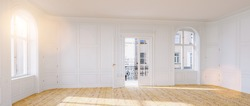 Elegant empty room in old building with double doors to the balcony in berlin