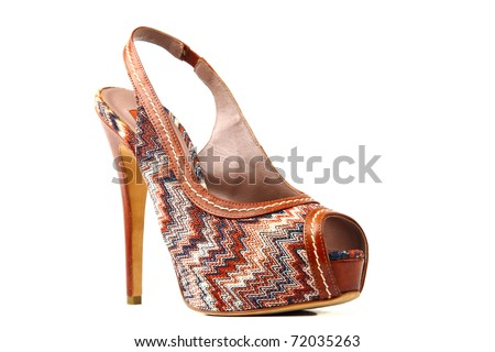 Elegant expensive women shoes isolated on white background. Women's accessories.