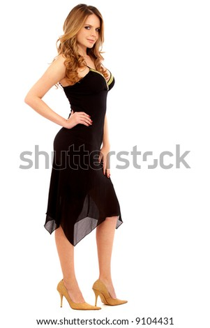elegant fashion woman standing - isolated over a green background