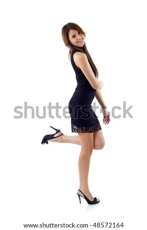 elegant fashion woman standing - isolated over a white background