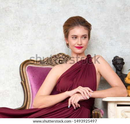 elegant fashion women sitting on sofa Elegantly in luxury room #1493925497