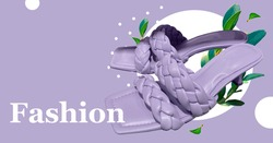 Elegant fashionable summer leather high-heel sandals with braided strap on the front. Square toe. stylish women's sandals. Composition of clothes. Summer Sale. Stylish female shoes. Trendy clothes