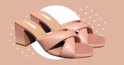 Elegant fashionable summer leather high-heel stylish women's sandals. Composition of clothes. Summer Sale. Stylish female shoes. Trendy clothes collage. Collage clothes banner. Casual Female shoes